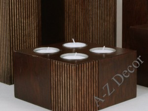 Wooden PLISADO candle holder for 4 tealights [AZ01056]
