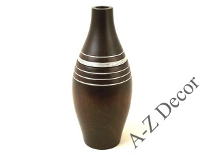 Decorated mango wooden vase with metal rings 36cm [003407]