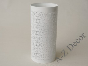 White cylindrical metal candle holder 28cm [AZ01969]