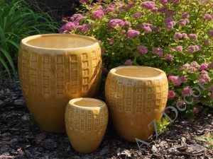 Light honey earthenware planters set of 3 [AZ00140]
