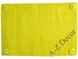 Yellow decorated raffia table placemat [AZ00669]
