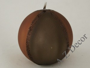 Wenge & X'mas rust ball candle 9cm [007980]