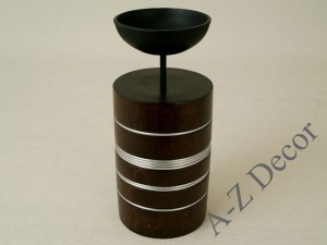 Pillar candle holder with metal cup 15cm [AZ00738]