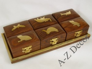 Wooden tray w/6 boxes 21x10x4cm [AZ01582]