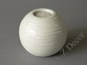 White ball T-light candle holder 12x10cm [000265]