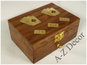 Wooden box w/domino+cards 15x11x6cm [AZ01560]