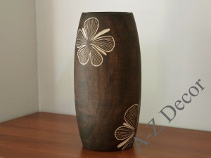IBISCO wooden vase with floral motif 30cm [002735]