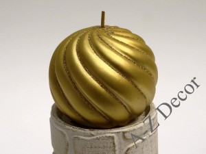 Twisted gold ball candle with glitter 11cm [005714]