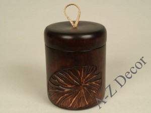 LOTOS wooden box with lid 13cm [AZ00585]
