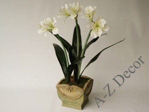 Artificial white Amaryllis in ceramic pot 86cm [AZ02024]