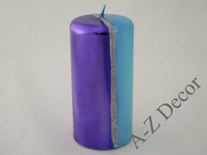 Metallic pillar candle with glitter 15cm [007981]