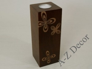 ROSETTE wooden T-light holder 20cm [004033]