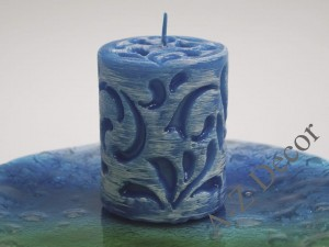 Blue pillar FIORENTINO candle with white brush 10cm [001197]