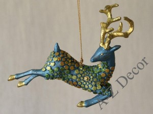 Turquoise reindeer hanging ornament 16cm [AZ02207]