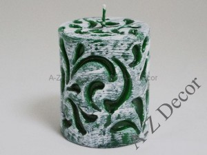 Green pillar brushed Fiorentino candle 10cm [005838]