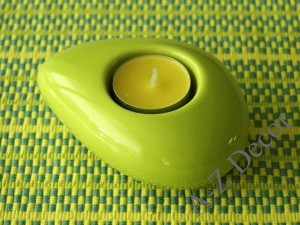 Green ceramic T-light holder 12cm [AZ02038]