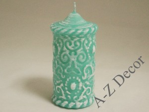 Tiffany lacquered pillar candle 7x14cm [005842]