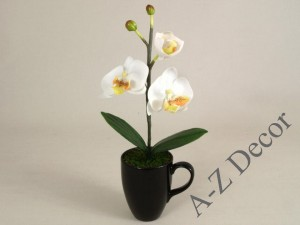 White artificial phalaenopsis in black cup 36cm [AZ01138]
