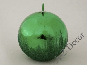 Green metallic ball candle with glitter 10cm [007946]