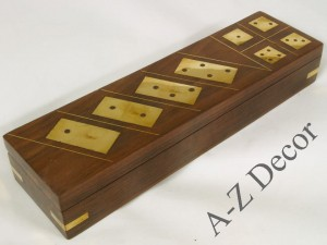 Wooden box with domino and dice 25cm [AZ01564]