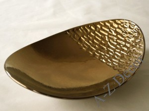 Cracked gold oval plate 32cm [005667]