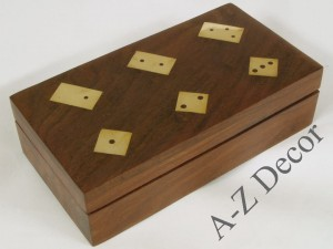 Wooden box w/domino+dice 16x8x4cm [AZ01562]