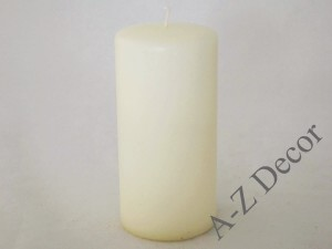 Off white velvet pillar candle 15cm [008011]