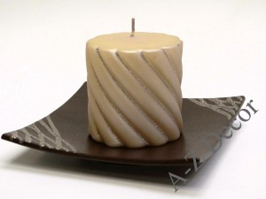 Pillar twisted Christmas candle with silver glitter 10cm [007893]
