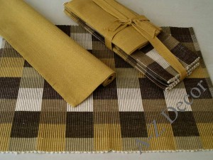 Cotton table textiles in shades of brown [AZ00494]