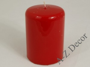 Red lacquered pillar candle 10cm [AZ01767]
