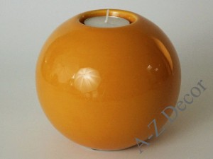 Orange ceramic T-light holder 12,5cm [008559]