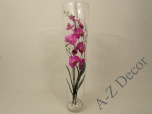 Artificial orchid in glass tube 80cm [005387]
