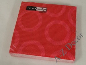 Paper napkins with red decorative wheels [AZ01469]