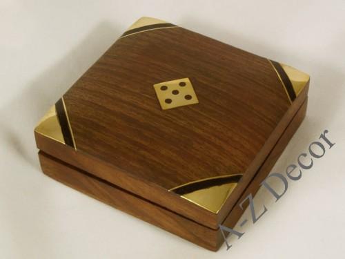 Small Flat Wooden Dice Box Az01566
