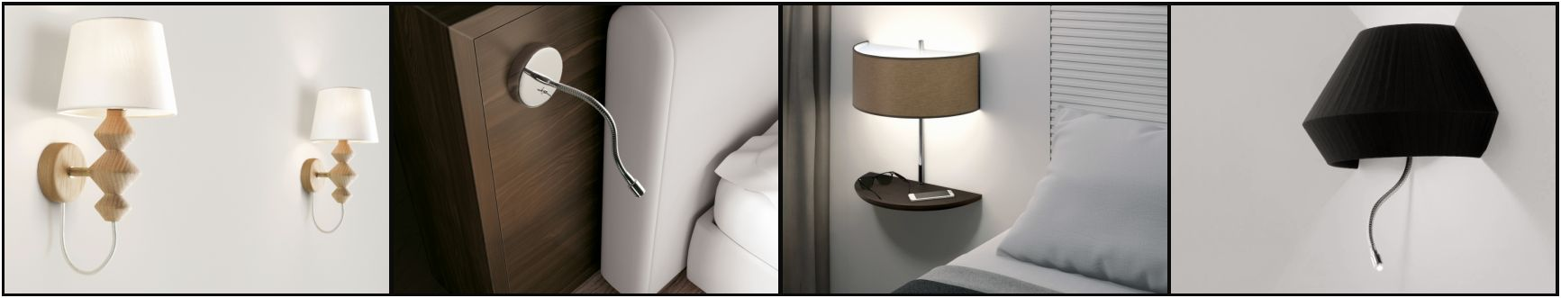 Exclusive wall lamps used as bedside lamps above the bed